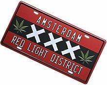 Gazechimp Autokennzeichen Design , Metall Blechschild Blech Schilder Wand Cafe Bar Dekor - Amsterdam, 15 x 30 cm