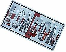 Gazechimp Autokennzeichen Design , Metall Blechschild Blech Schilder Wand Cafe Bar Dekor - London, 15 x 30 cm
