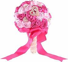 Gazechimp Blumenstrauß Künstliche Blumen mit Rosen Perlen Hochzeit Brautstrauß - Rose, 21 cm