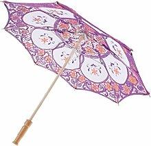 Gazechimp Braut Sonnenschirm Spitze, Brautschirm Damen Regenschirm Hochzeit Gesticktes Vintage Sonnenschirm Hochzeit Dekoration - Lila, 43cm