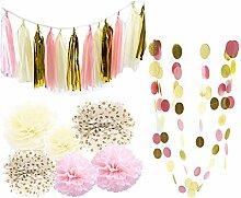 Gazechimp DIY Pompom Pompons Papierblumen Quasten Girlande Papierlaternen Dekoration für Hochzeit/ Gebutztag/ Baby Shower/ Weihnachten - Rosa PomPoms Quasten Girlande, 20pcs