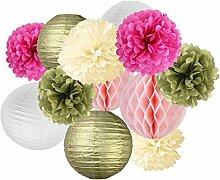 Gazechimp DIY Pompom Pompons Papierblumen Quasten Girlande Papierlaternen Dekoration für Hochzeit/ Gebutztag/ Baby Shower/ Weihnachten - Gold Rosa Weiß PomPoms Laternen, 12pcs