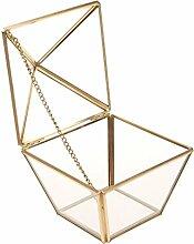 Gazechimp Glasterrarium Geometrisches Glas Sukkulente Pflanzgefäß Haus Dekoration Metall Rahmen