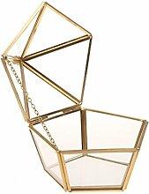 Gazechimp Glasterrarium Geometrisches Glas Sukkulente Pflanzgefäß Haus Dekoration Epochenstil - Gold