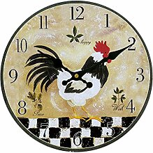 Gazechimp Hahn Design , Vintage Wanduhr Dekouhr , Rustikale Hahn Shabby Chic Stil , Küche Haus Wohnzimmer Café Bar Dekoration