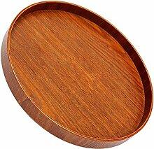 Gazechimp Holzteller aus Holz - rund - Holz-Schale Obstschale Schüssel Salatschüssel Dekoteller - Deko Dekoration Aufbewahrung - Braun, 21x2cm