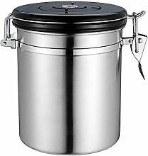 Gazechimp Kaffeedose Vorratsdose Edelstahldose, für Kaffeebohnen/-pulver, Tee, Nüsse, Kakao, Edelstahl 1,5L - Silber, 1.5L