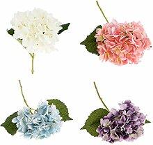Gazechimp Künstliche Hydrangeablume Seide Blumen Pflanzen Hochzeit Partei Garten Dekoration, 4 Farben