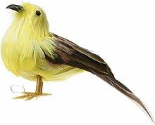 Gazechimp Mini Vogel Figur Moos Landschaft Ornaments Zubehör Gartendeko - Gelb, 12cm