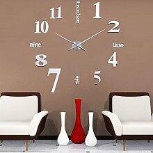 Gazechimp Rahmenlose Wanduhren Uhr DIY , 3D Spiegel Wand Aufkleber , Zahlen Muster