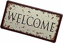 Gazechimp Retro Blechschilder Sprüche Design , aus Metall , Bar Wohnzimmer Wand Deko - Welcome