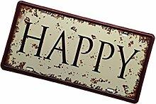 Gazechimp Retro Blechschilder Sprüche Design , aus Metall , Bar Wohnzimmer Wand Deko - Happy