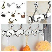 Gazechimp Retro Metall Garderobenhaken Wandhaken Handtuchhaken Kleiderbügel mit Schrauben Silber