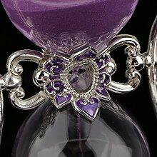 Gazechimp Romantische Drehbar 15 Minuten Sanduhr Hourglaßtimer Kurzzeitmesser Idea auch als Haus Zimmer Tisch Büro Dekoration, schöne Geschenk - Lila