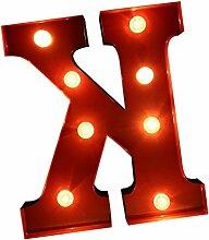 Gazechimp Rot LED Alphabet Licht Nachtlicht Hochzeit Weihnachten Garten Bar Deko - K