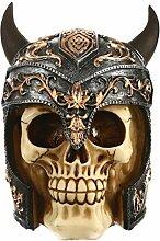 Gazechimp Schädel Totenkopf Modell Figur Tragen Horn Helm Ornament Gotisches Steampunk Dekoratives Fertigkeit Halloween Party Dekoration