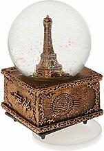 Gazechimp Schneekugel/Snowglobe Spieluhr Spieldose - Paris Eiffelturm / Tour Eiffel - Haus Tisch Dekoration Weihnachtsgeschenk