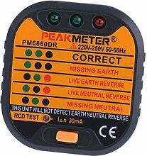 Gazechimp Steckdosen-Tester, Steckdose Testgerät für Phase / Null-Leiter / Erde Anschluss Prüfstecker mit 5 LED-Lichtmuster, 1 Stück - typ2