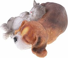Gazechimp Süße Katze & Hund Tiermodell, Harz Gartenfigur Dekofigur Dekoration für Haus, Hinterhof, Garten, usw
