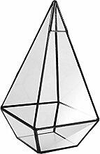 Gazechimp Sukkulente Pflanzer Klar Glas Metall Geometrischen Terrarium Fairy Gartenhaus - 12 x 12 x 24cm