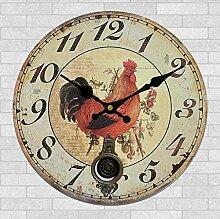 Gazechimp Vintage Rund Holzuhr Wanduhr , Hahn Design , Zifferblatt 12-Stunden-Anzeige Batterie , Küche Haus Wohnzimmer Café Bar Dekoration