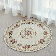 GBBD Teppiche Teppich Teppich Runde Europäischen Stil Schlafzimmer Bettdecke Studie Wohnzimmer Kaffeetisch Maschine Waschbar Teppich 90 cm, 120 cm (Größe : 90cm)