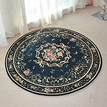 GBBD Teppiche Teppich-Teppich-Wohnzimmer-Schlafzimmer-Bettwäsche-Decke Runder Europäischer Studien-Kaffeetisch 80CM, 90CM, 120CM (Größe : 90cm)