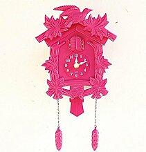 GBDSD Kreative Kuckucksuhr Kunststoff Wanduhr Wohnzimmer Musik , pink