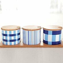 GBT Gewürzflasche Geschirr Gewürzbehälter Keramik Gewürzdose mit Löffel Set Gewürzflasche (4 Stück)