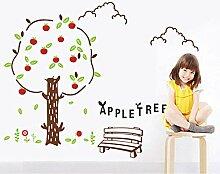 GBTEK Cartoon Apfelbaum Wandaufkleber Kinder