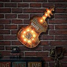 GBYZHMH Kreative Beleuchtung Lampe Wand Café Bar Dekorationen, Schmiedeeiserne dekorative Wand hängende Wand Hangings Gitarre Wandleuchte