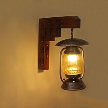 GBYZHMH Retro Nostalgie Massivholz schmiedeeiserne Lampe Wandleuchte kreative Kaffee Stehleuchte gang Balkon Beleuchtung