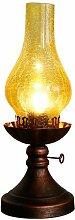GBYZHMH Vintage Tischleuchte klassische Petroleumlampe Form nostalgische Öl lampe Bügeleisen mit Glas Lampenschirm Studie Leselampen Restaurant Schreibtischleuchten (Farbe: gelb)