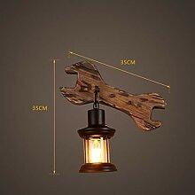 GCCI Kreatives Licht Lampe Retro Wand Holz