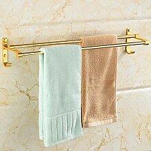GCCRR Badezimmer Regal Handtuchhalter Bohranlage Raum Aluminium Badezimmer doppelt Hardware Storage Rack Küche Eckablage Wand Set golden