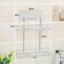 GCCRR Badezimmer Regal Handtuchhalter Punch starker Saugnapf Edelstahl Badezimmer doppelt Hardware Storage Racks Küche Eckablage Nahtlose Wandaufkleber double
