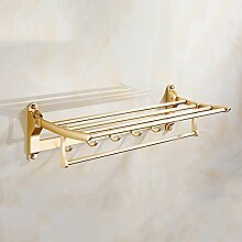 GCCRR Towel Holders/Towel Stands Badezimmer Regal Handtuchhalter Raum Aluminium kontinental Triangle Rahmen Bohranlage Einschichtige gewandt Metall Lagerregale Küche Wandbehang golden champagne gold