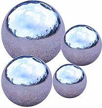 GDglobal Edelstahlkugeln Silber Gartenkugel