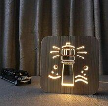 GDLight 3D Holz Leuchtturm Nacht Lampe geschnitzt