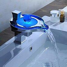 GDS Wasserhahn,Personalisierte einzelne LED Badezimmer Waschbecken Wasserhahn Chrom Kupfer-Silber