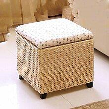 GE&YOBBY Cube-lagerung-osmanischen,Einfache Stroh