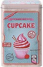 Gebäckdose Keksdose Blechdose Vorratsdose, hoch rechteckig, Cupcake, ca. 2.5 l, ca. 13.5 x 10.5 x 20 cm, blau/rosa