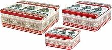 Gebäckdose Keksdose Vorratsdose Blech 3er Set quadratisch, creme beige braun rot Weihnachtsbäume grün