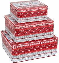 Gebäckdose Keksdose Vorratsdose Blech 3er Set quadratisch - Weihnachtsbäume und Misteln creme grau ro