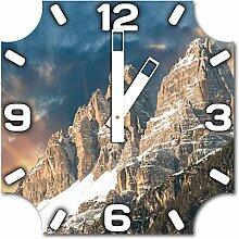 Gebirge, Design Wanduhr aus Alu Dibond zum Aufhängen, 30 cm Durchmesser, breite Zeiger, schöne und moderne Wand Dekoration, mit qualitativem Quartz Uhrwerk
