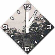Gebirge mit Wolken, Design Wanduhr aus Alu Dibond zum Aufhängen, 30 cm Durchmesser, breite Zeiger, schöne und moderne Wand Dekoration, mit qualitativem Quartz Uhrwerk