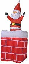 Gebläse Nikolaus 120cm POP UP 180cm Weihnachtsmann kommt aus Kamin Lüfter aufblasbar Deko Weihnachten Pop Up 78517