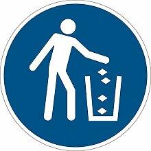 Gebotszeichen - Abfallbehälter benutzen - Folie