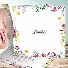 Geburt Dankeskarte, Sophias Garten 90 Karten, Quadratische Klappkarte 145x145 inkl. weiße Umschläge, Ro