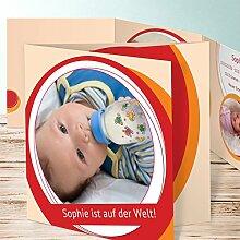 Geburtskarten Design, Loop 130 Karten, Doppelklappkarte 145x145 inkl. weiße Umschläge, Ro